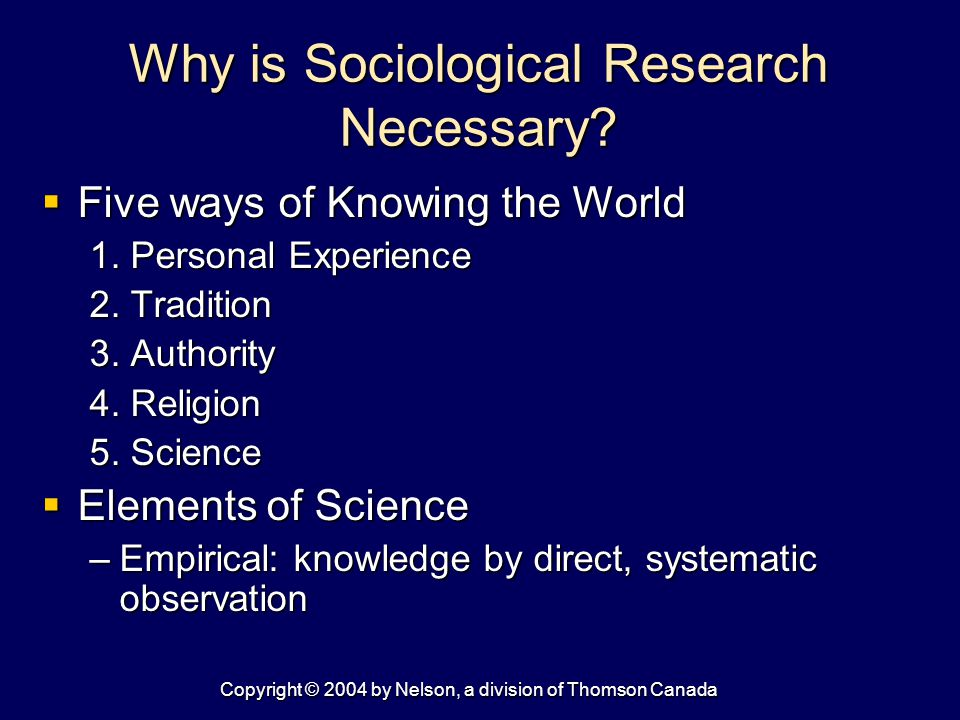 Copyright © 2004 by Nelson, a division of Thomson Canada Why is Sociological Research Necessary.
