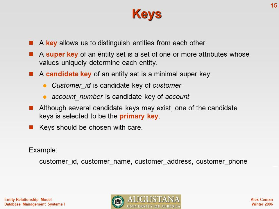 Alex Coman Winter Entity-Relationship Model Database Management Systems I Keys A key allows us to distinguish entities from each other.