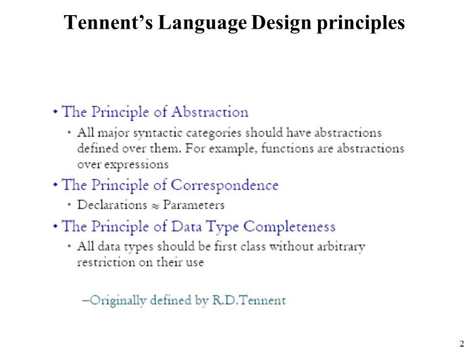 2 Tennent's Language Design principles