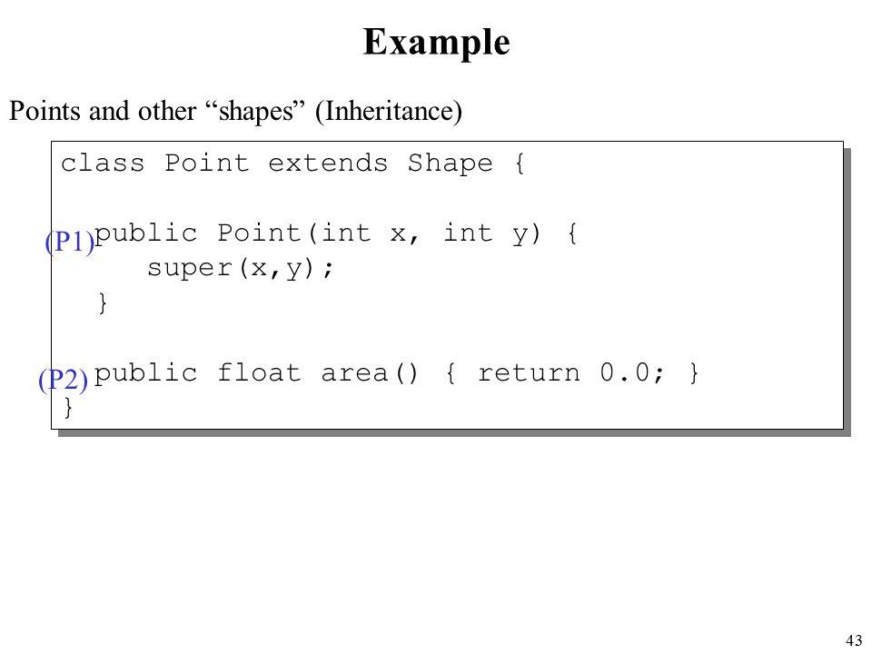 43 class Point extends Shape { public Point(int x, int y) { super(x,y); } public float area() { return 0.0; } } class Point extends Shape { public Point(int x, int y) { super(x,y); } public float area() { return 0.0; } } Example Points and other shapes (Inheritance) (P1) (P2)