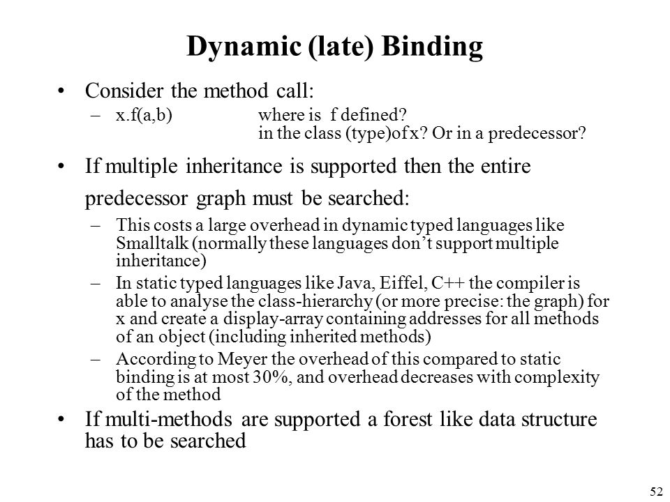 52 Dynamic (late) Binding Consider the method call: –x.f(a,b)where is f defined.