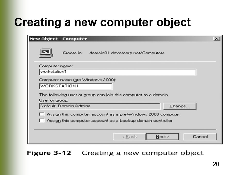 20 Creating a new computer object