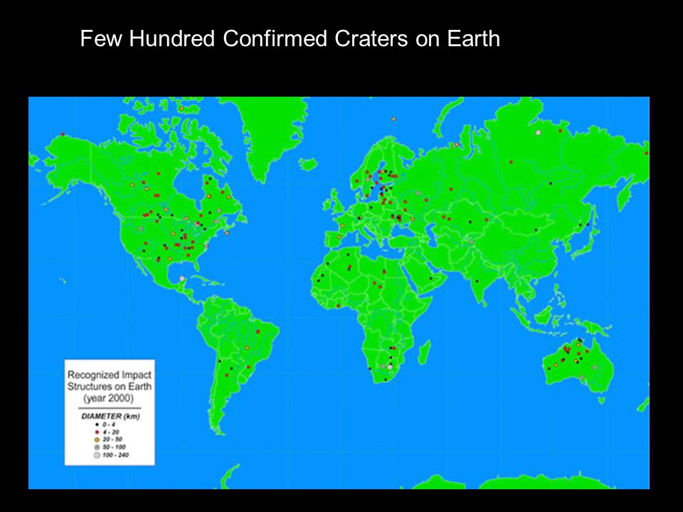 Few Hundred Confirmed Craters on Earth