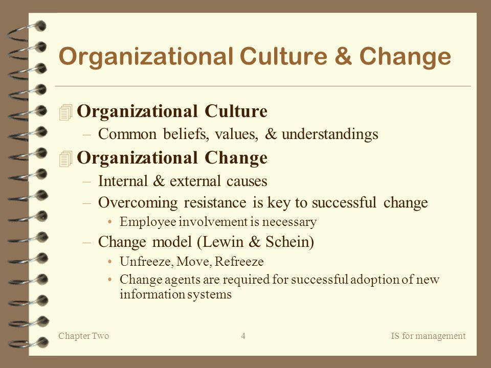Chapter TwoIS for management4 Organizational Culture & Change 4 Organizational Culture –Common beliefs, values, & understandings 4 Organizational Change –Internal & external causes –Overcoming resistance is key to successful change Employee involvement is necessary –Change model (Lewin & Schein) Unfreeze, Move, Refreeze Change agents are required for successful adoption of new information systems