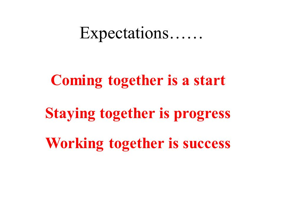 Expectations…… Coming together is a start Staying together is progress Working together is success