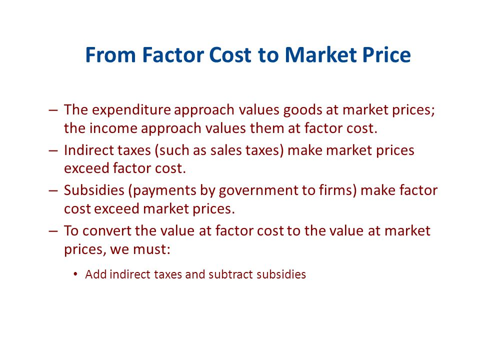 Net Domestic Product at Factor Cost : The sum of factor payments—wages, interest, rent and profits.