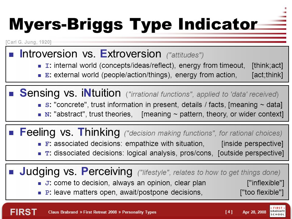 Claus Brabrand » First Retreat 2008 » Personality Types Apr 28, 2008 [ 4 ] Myers-Briggs Type Indicator Introversion vs.