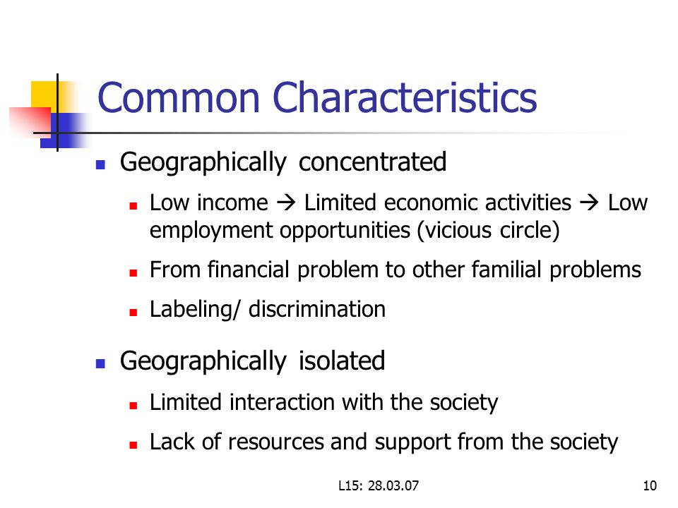 L15: Common Characteristics Geographically concentrated Low income  Limited economic activities  Low employment opportunities (vicious circle) From financial problem to other familial problems Labeling/ discrimination Geographically isolated Limited interaction with the society Lack of resources and support from the society