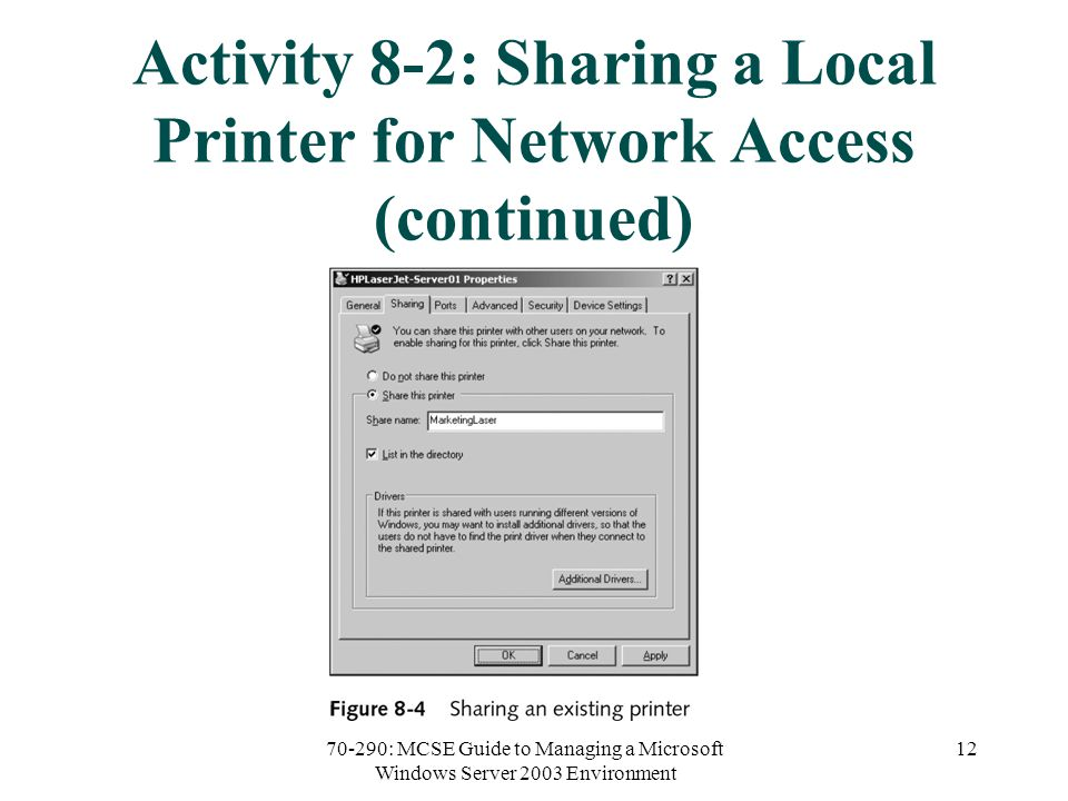 70-290: MCSE Guide to Managing a Microsoft Windows Server 2003 Environment 12 Activity 8-2: Sharing a Local Printer for Network Access (continued)