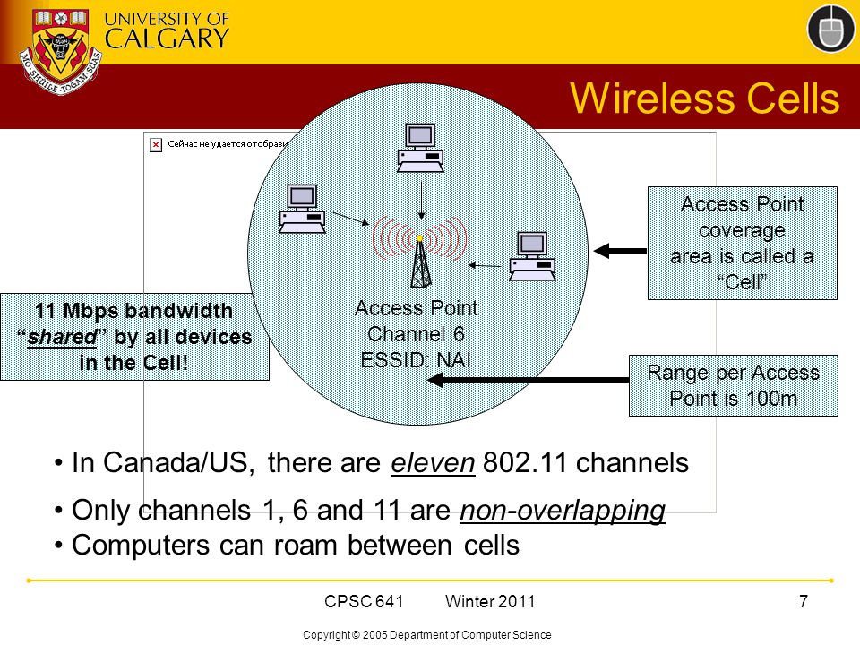 Copyright © 2005 Department of Computer Science CPSC 641 Winter Mbps bandwidth shared by all devices in the Cell.