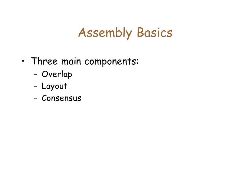 Assembly Basics Three main components: –Overlap –Layout –Consensus