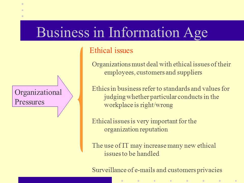 Business in Information Age Organizational Pressures Organizations must deal with ethical issues of their employees, customers and suppliers Ethics in business refer to standards and values for judging whether particular conducts in the workplace is right/wrong Ethical issues is very important for the organization reputation The use of IT may increase many new ethical issues to be handled Surveillance of  s and customers privacies Ethical issues