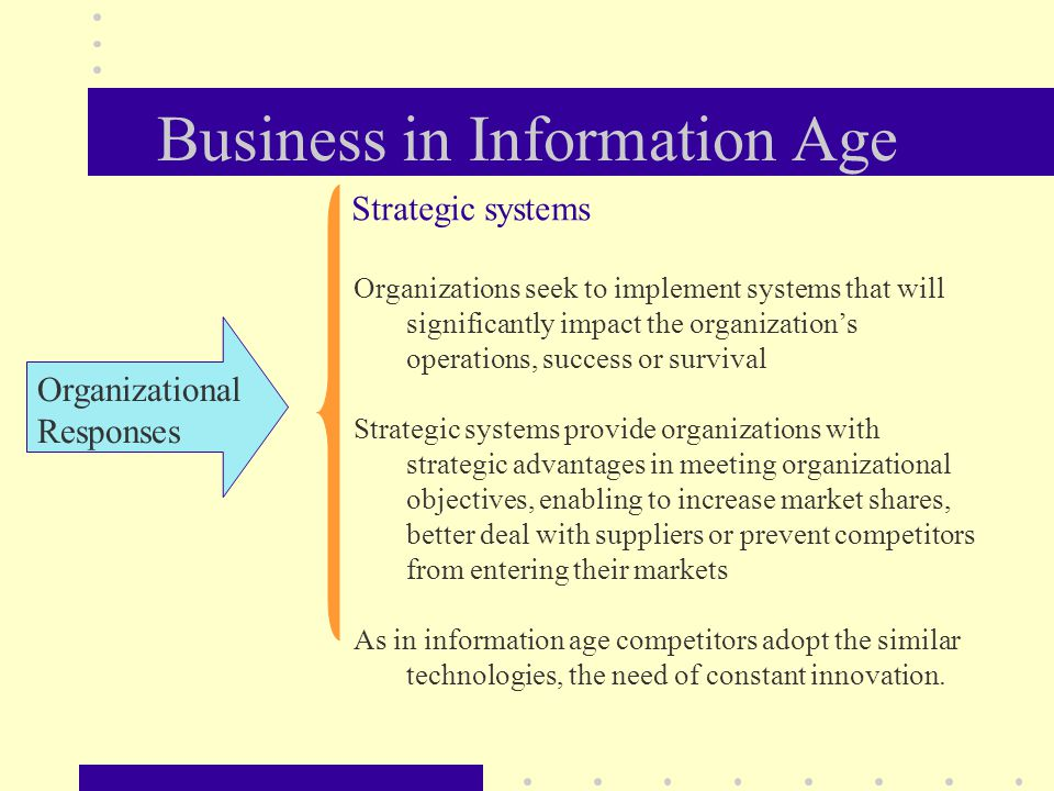 Business in Information Age Organizational Responses Organizations seek to implement systems that will significantly impact the organization's operations, success or survival Strategic systems provide organizations with strategic advantages in meeting organizational objectives, enabling to increase market shares, better deal with suppliers or prevent competitors from entering their markets As in information age competitors adopt the similar technologies, the need of constant innovation.