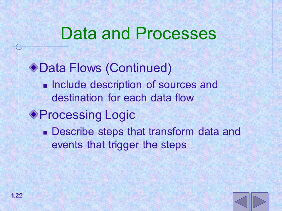 Data and Processes Data Flows (Continued) Include description of sources and destination for each data flow Processing Logic Describe steps that transform data and events that trigger the steps 1.22