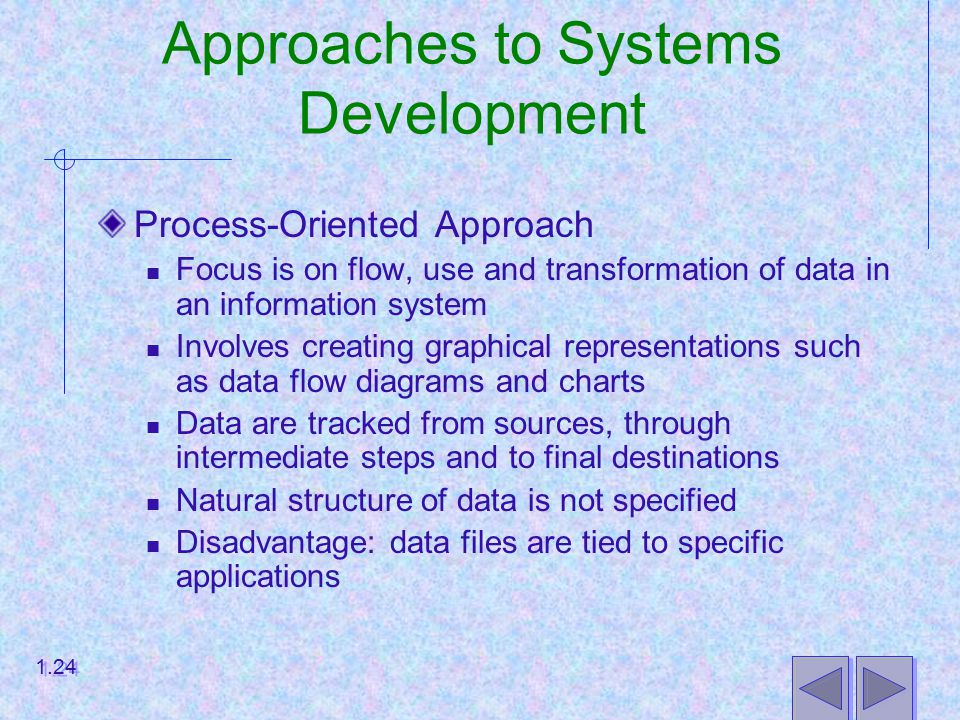 Approaches to Systems Development Process-Oriented Approach Focus is on flow, use and transformation of data in an information system Involves creating graphical representations such as data flow diagrams and charts Data are tracked from sources, through intermediate steps and to final destinations Natural structure of data is not specified Disadvantage: data files are tied to specific applications 1.24