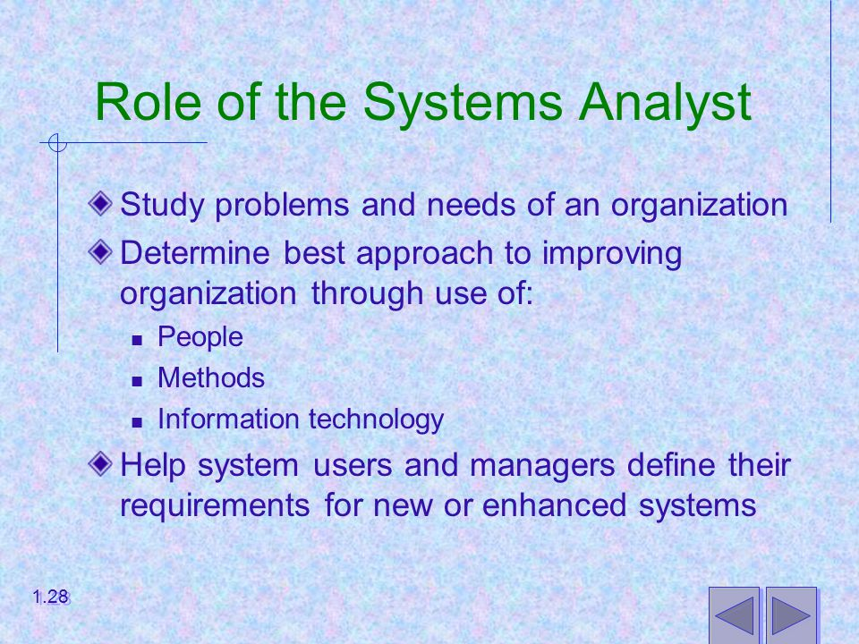 Role of the Systems Analyst Study problems and needs of an organization Determine best approach to improving organization through use of: People Methods Information technology Help system users and managers define their requirements for new or enhanced systems 1.28