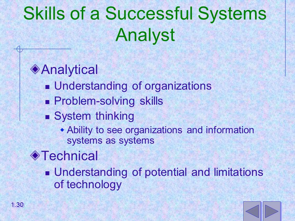 Skills of a Successful Systems Analyst Analytical Understanding of organizations Problem-solving skills System thinking  Ability to see organizations and information systems as systems Technical Understanding of potential and limitations of technology 1.30