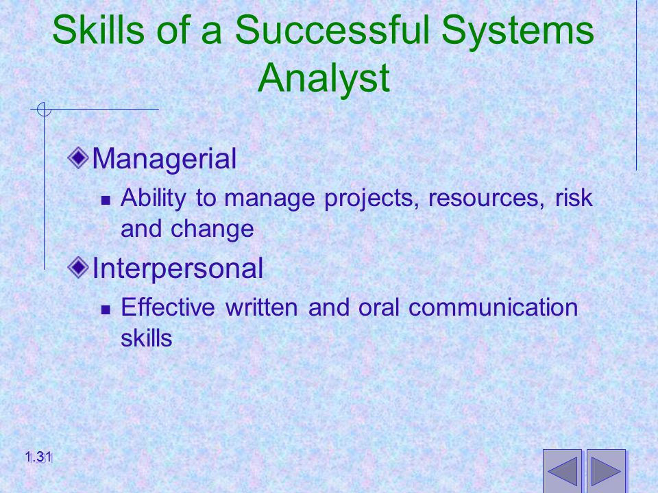 Skills of a Successful Systems Analyst Managerial Ability to manage projects, resources, risk and change Interpersonal Effective written and oral communication skills 1.31