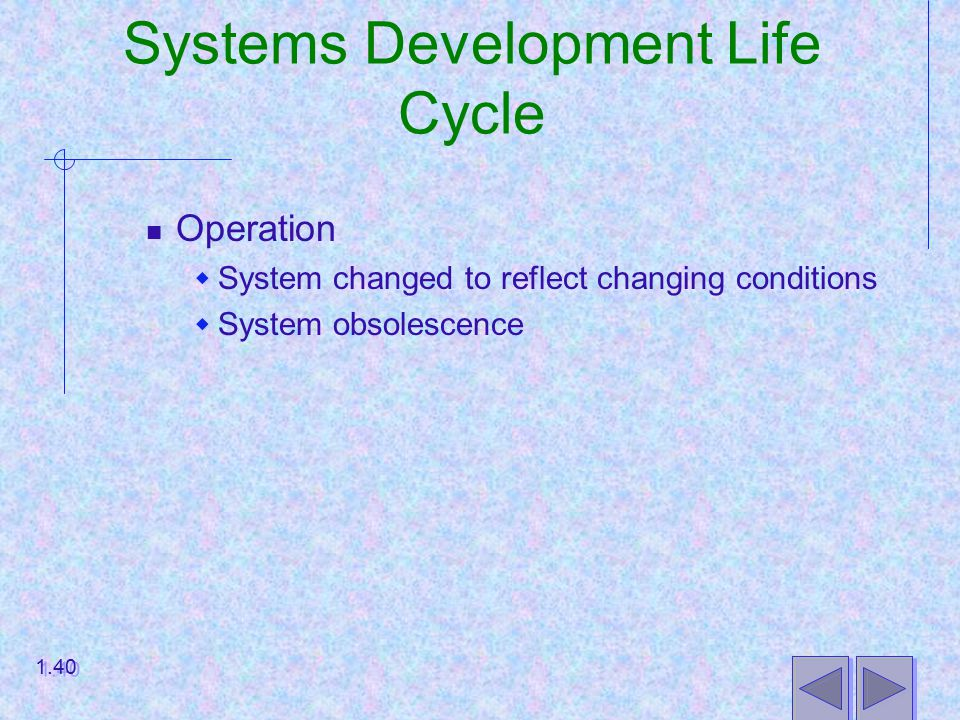 Systems Development Life Cycle Operation  System changed to reflect changing conditions  System obsolescence 1.40