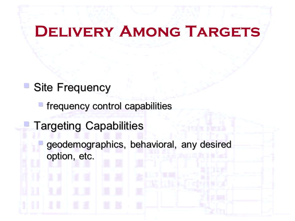 Delivery Among Targets  Site Frequency  frequency control capabilities  Targeting Capabilities  geodemographics, behavioral, any desired option, etc.