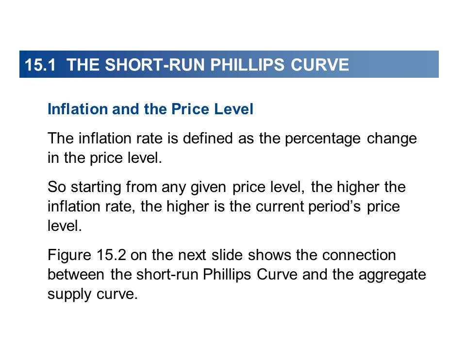15.1 THE SHORT-RUN PHILLIPS CURVE Inflation and the Price Level The inflation rate is defined as the percentage change in the price level.