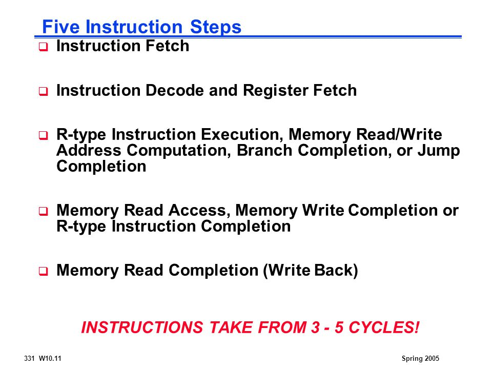 331 W10.11Spring 2005  Instruction Fetch  Instruction Decode and Register Fetch  R-type Instruction Execution, Memory Read/Write Address Computation, Branch Completion, or Jump Completion  Memory Read Access, Memory Write Completion or R-type Instruction Completion  Memory Read Completion (Write Back) INSTRUCTIONS TAKE FROM CYCLES.