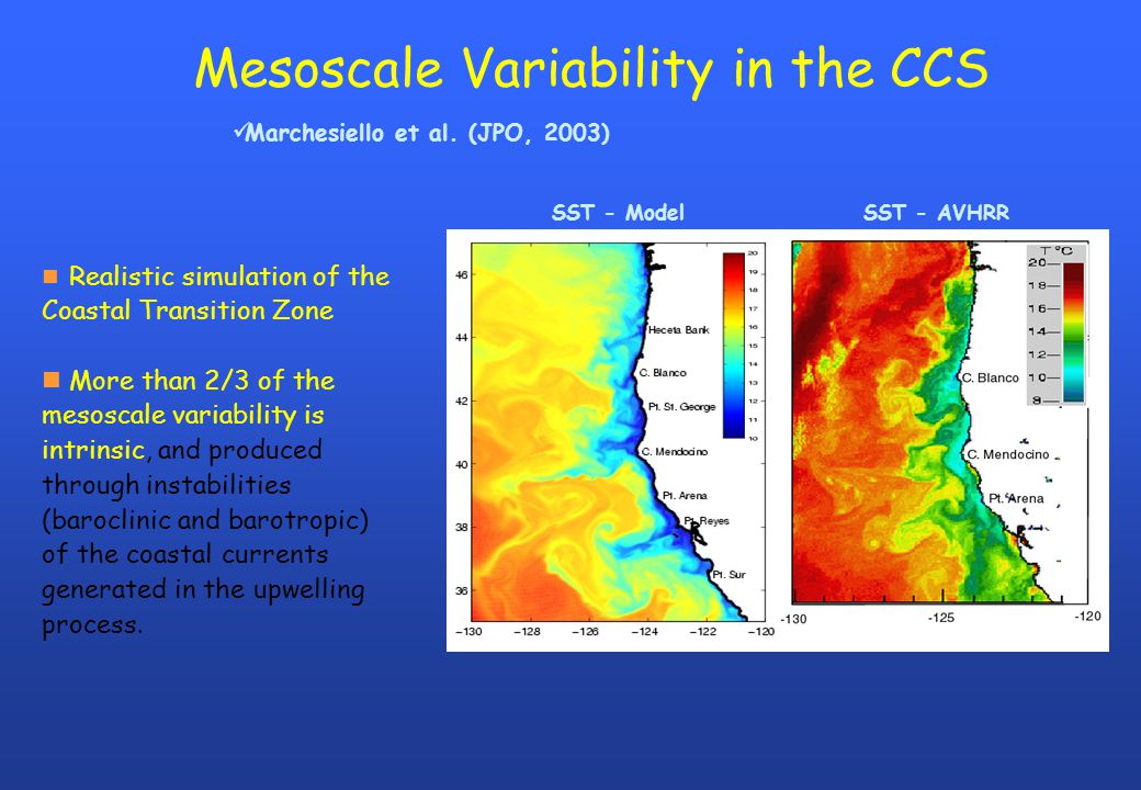 Mesoscale Variability in the CCS n Realistic simulation of the Coastal Transition Zone n More than 2/3 of the mesoscale variability is intrinsic, and produced through instabilities (baroclinic and barotropic) of the coastal currents generated in the upwelling process.