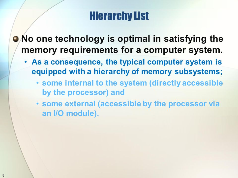 Hierarchy List No one technology is optimal in satisfying the memory requirements for a computer system.