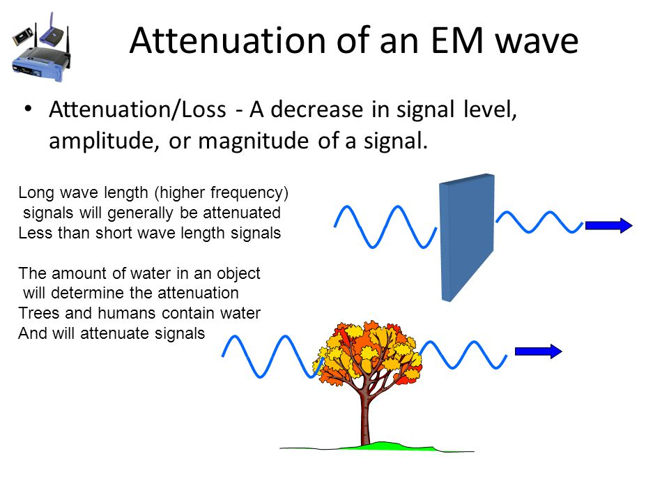 Attenuation of an EM wave Attenuation/Loss - A decrease in signal level, amplitude, or magnitude of a signal.