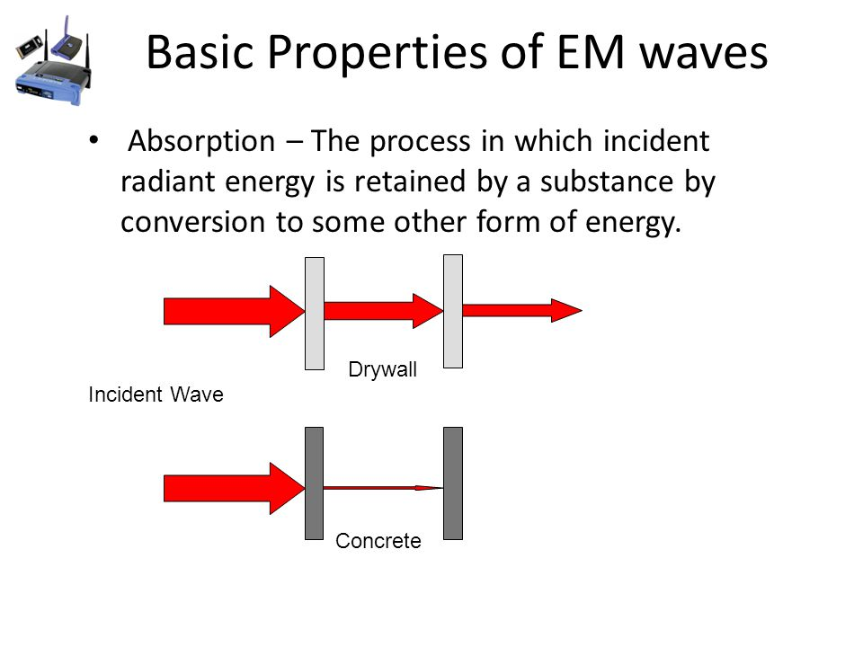 Basic Properties of EM waves Absorption – The process in which incident radiant energy is retained by a substance by conversion to some other form of energy.