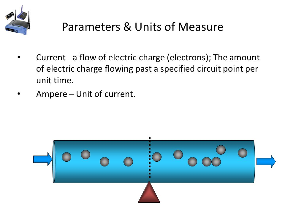 Parameters & Units of Measure Current - a flow of electric charge (electrons); The amount of electric charge flowing past a specified circuit point per unit time.