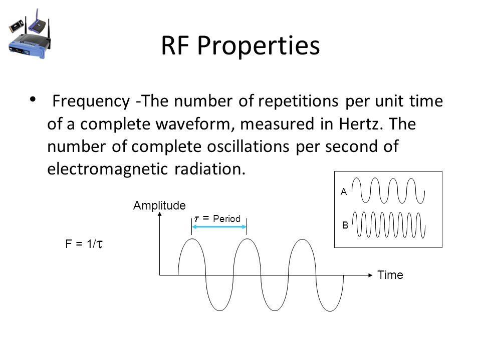 RF Properties Frequency -The number of repetitions per unit time of a complete waveform, measured in Hertz.