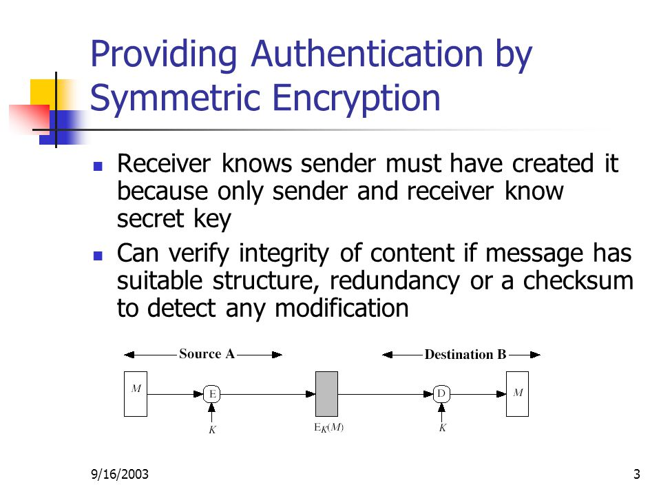 9/16/20033 Providing Authentication by Symmetric Encryption Receiver knows sender must have created it because only sender and receiver know secret key Can verify integrity of content if message has suitable structure, redundancy or a checksum to detect any modification