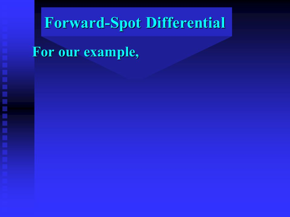 Forward-Spot Differential For our example,