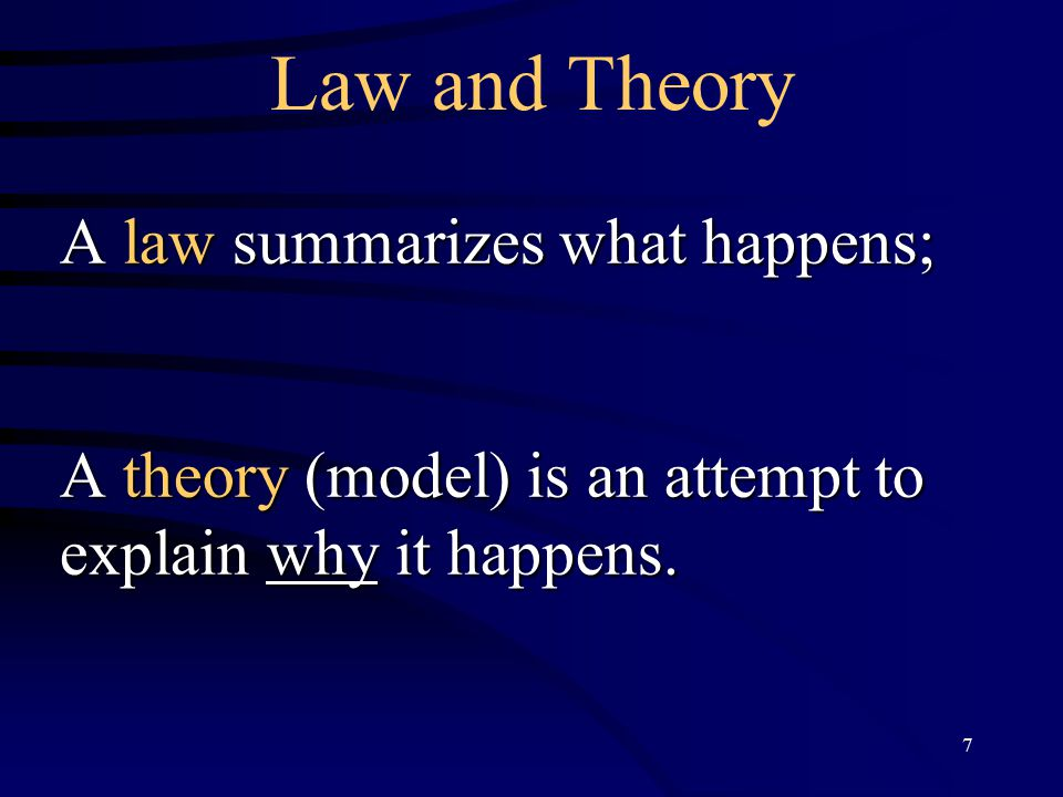 7 Law and Theory A law summarizes what happens; A theory (model) is an attempt to explain why it happens.
