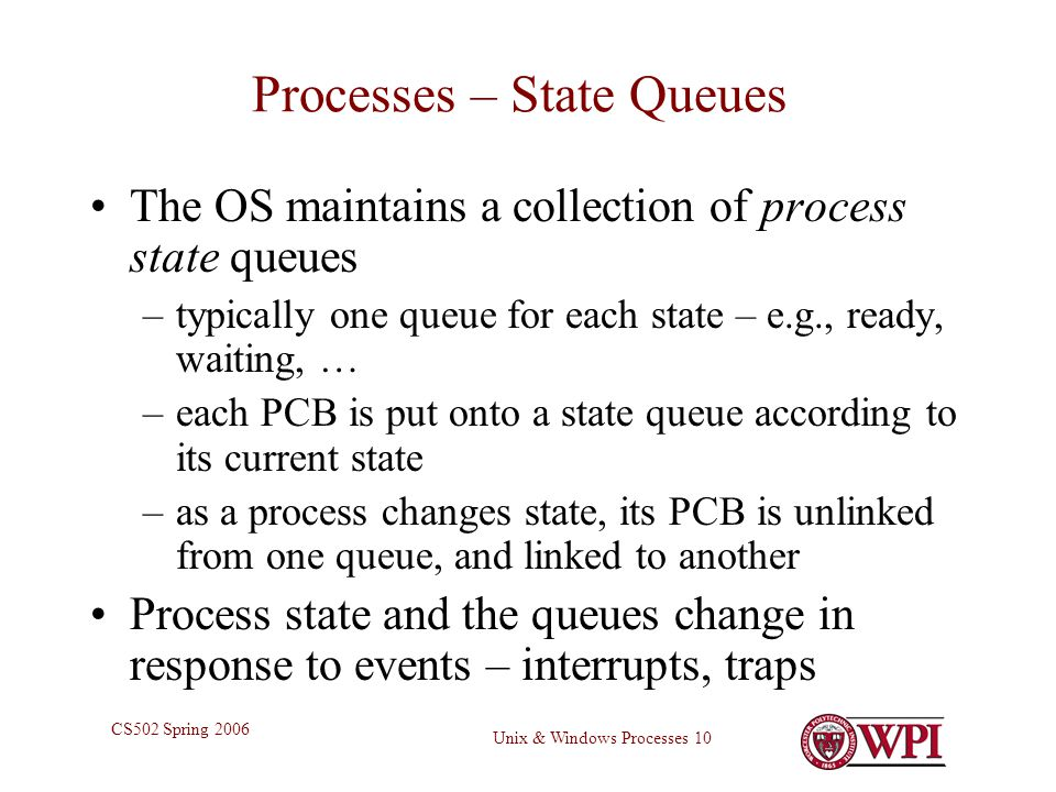 Unix & Windows Processes 10 CS502 Spring 2006 Processes – State Queues The OS maintains a collection of process state queues –typically one queue for each state – e.g., ready, waiting, … –each PCB is put onto a state queue according to its current state –as a process changes state, its PCB is unlinked from one queue, and linked to another Process state and the queues change in response to events – interrupts, traps