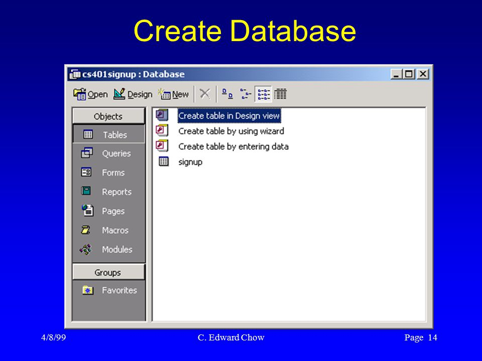 4/8/99 C. Edward Chow Page 14 Create Database