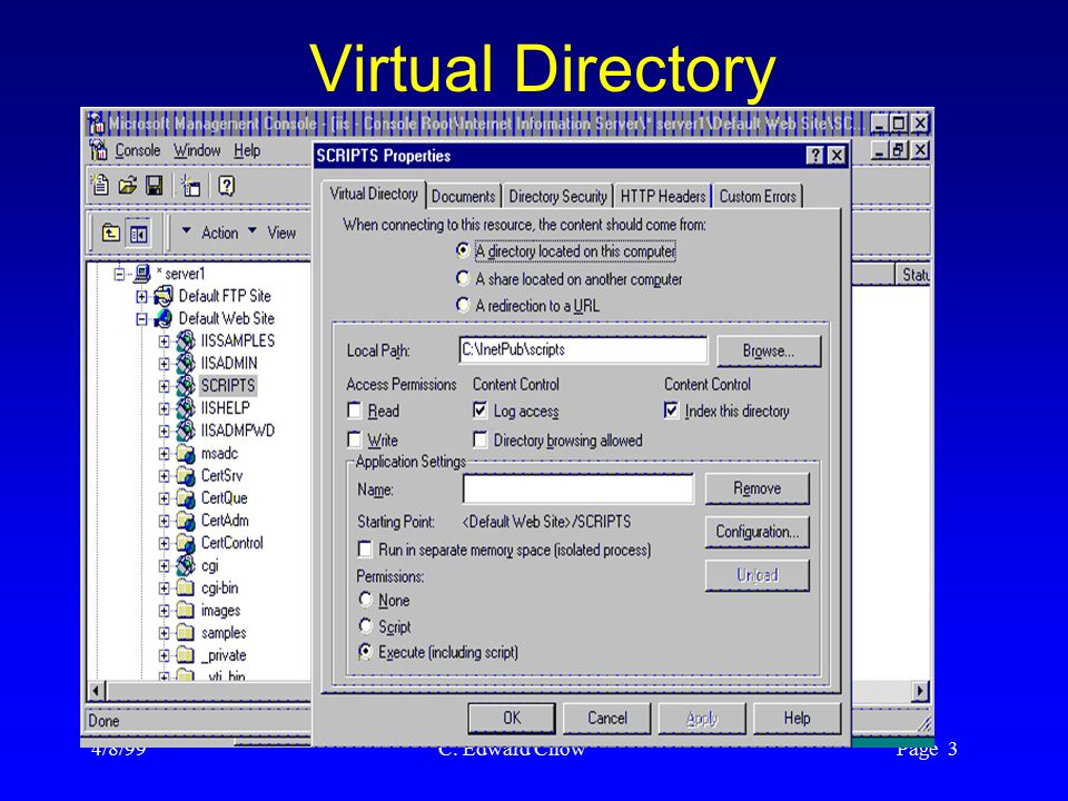 4/8/99 C. Edward Chow Page 3 Virtual Directory