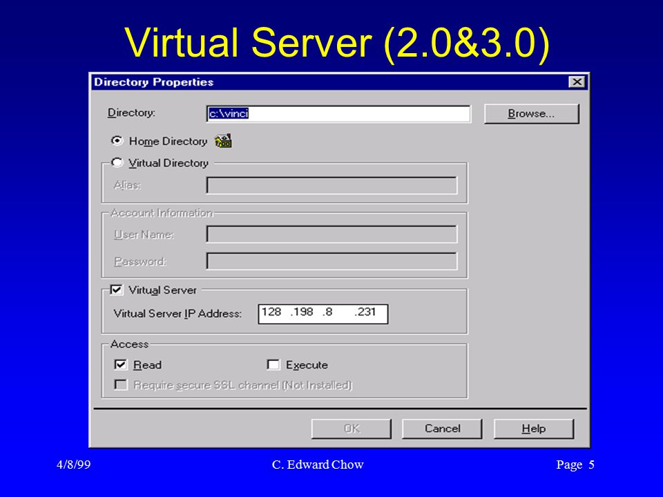 4/8/99 C. Edward Chow Page 5 Virtual Server (2.0&3.0)