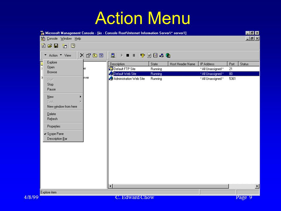 4/8/99 C. Edward Chow Page 9 Action Menu