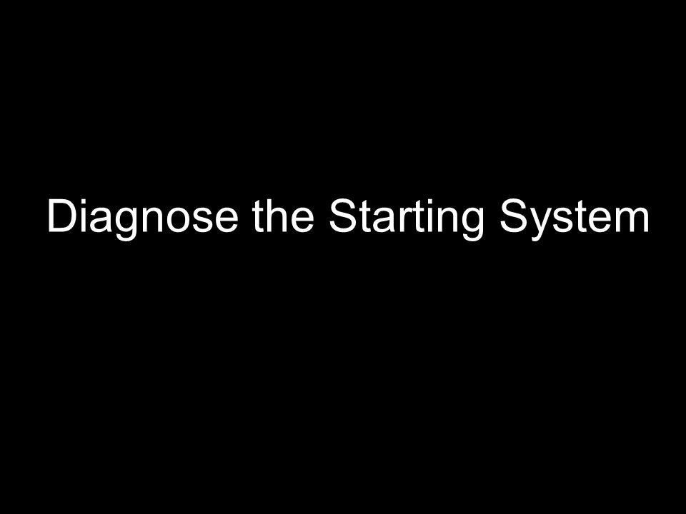 Diagnose the Starting System