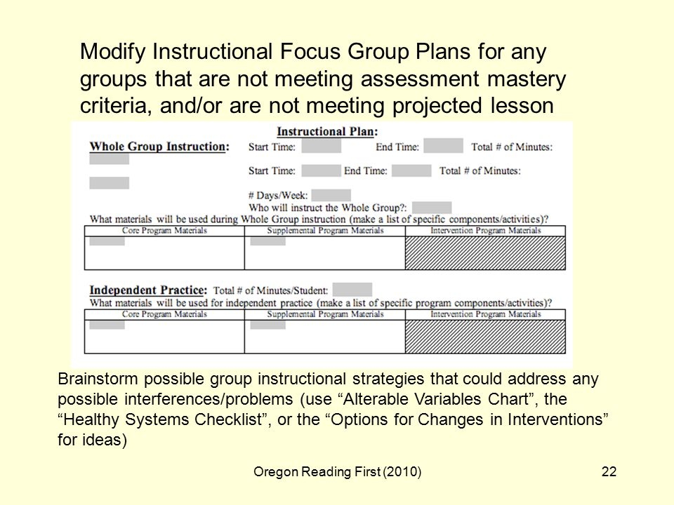Oregon Reading First (2010)22 Modify Instructional Focus Group Plans for any groups that are not meeting assessment mastery criteria, and/or are not meeting projected lesson pacing progress.