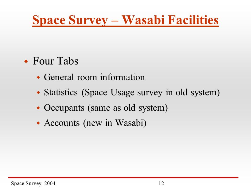 Space Survey Space Survey – Wasabi Facilities w Four Tabs w General room information w Statistics (Space Usage survey in old system) w Occupants (same as old system) w Accounts (new in Wasabi)
