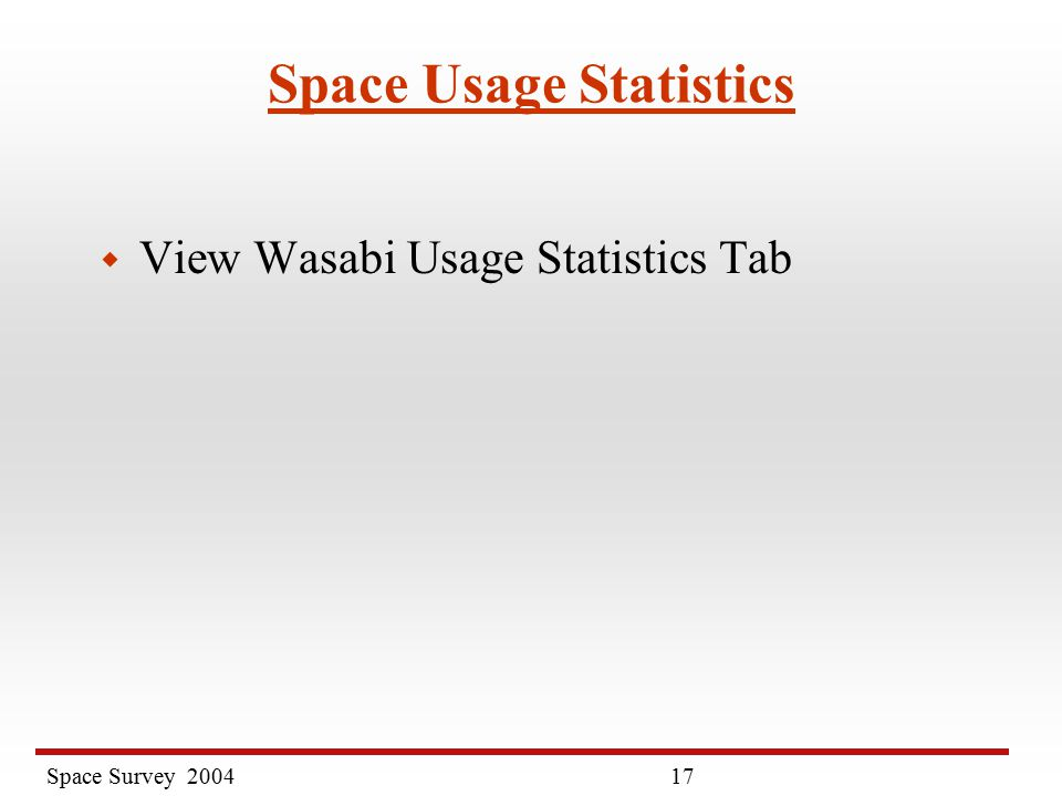 Space Survey Space Usage Statistics w View Wasabi Usage Statistics Tab