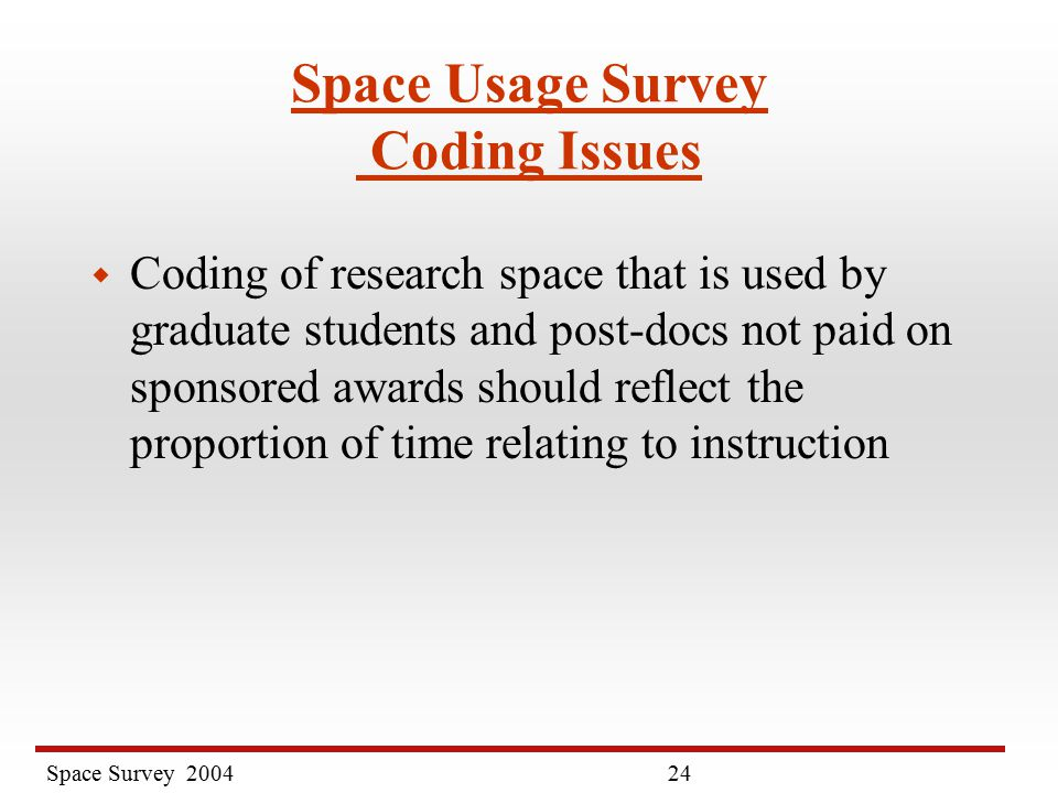 Space Survey Space Usage Survey Coding Issues w Coding of research space that is used by graduate students and post-docs not paid on sponsored awards should reflect the proportion of time relating to instruction