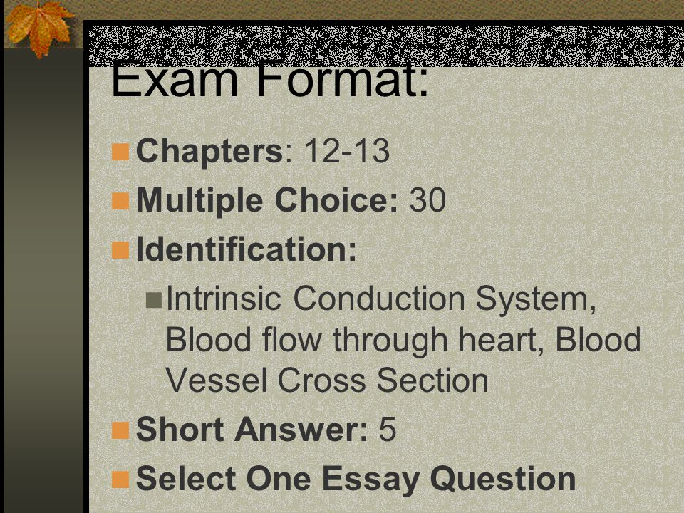 review exam ii cardiovascular anatomy and physiology ped ppt   choice 30 identification intrinsic conduction system blood flow through heart blood vessel cross section short answer 5 select one essay question