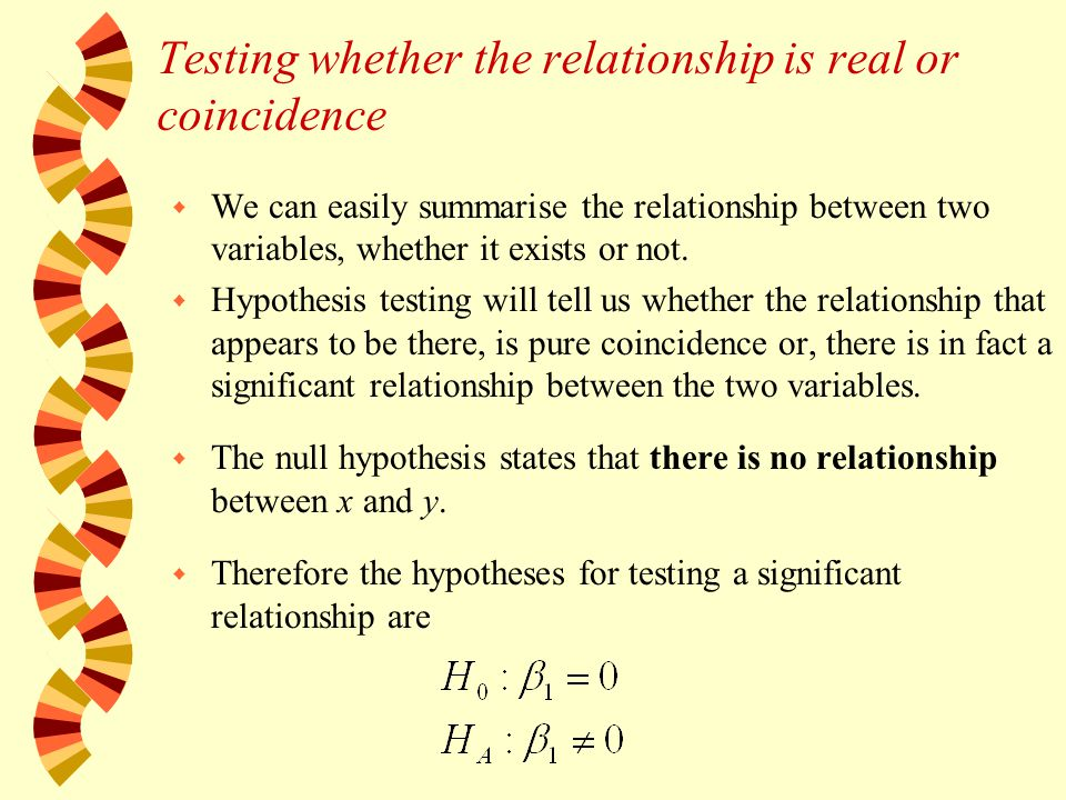 w We can easily summarise the relationship between two variables, whether it exists or not.