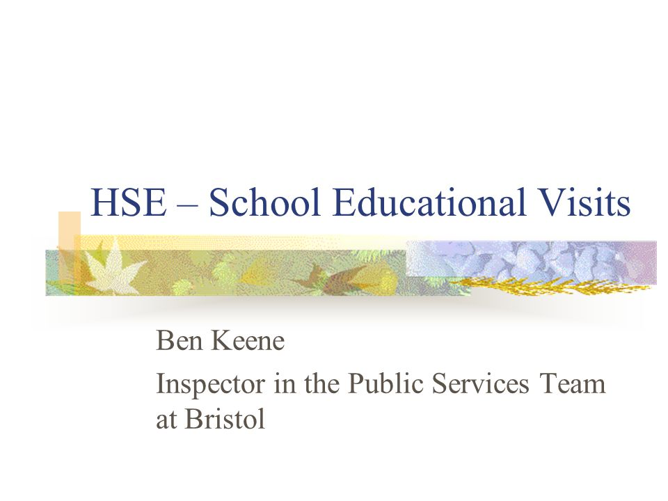 HSE – School Educational Visits Ben Keene Inspector in the Public Services Team at Bristol