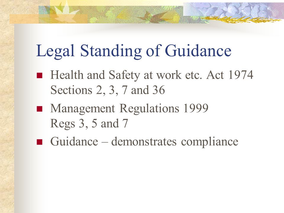 Legal Standing of Guidance Health and Safety at work etc.