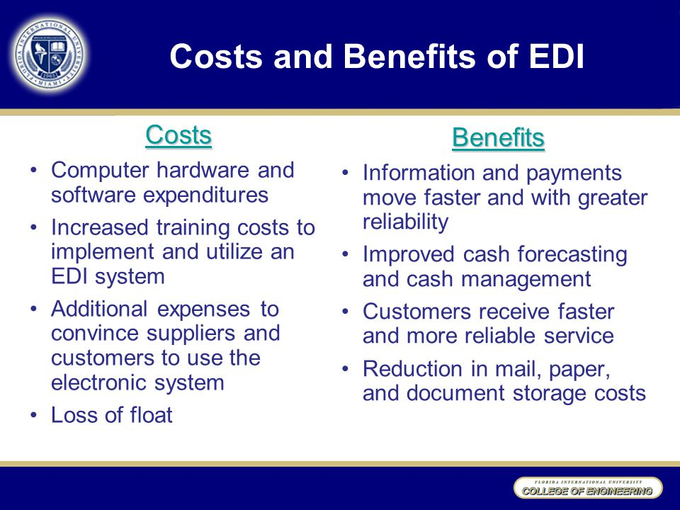 Costs and Benefits of EDI Costs Computer hardware and software expenditures Increased training costs to implement and utilize an EDI system Additional expenses to convince suppliers and customers to use the electronic system Loss of float Benefits Information and payments move faster and with greater reliability Improved cash forecasting and cash management Customers receive faster and more reliable service Reduction in mail, paper, and document storage costs